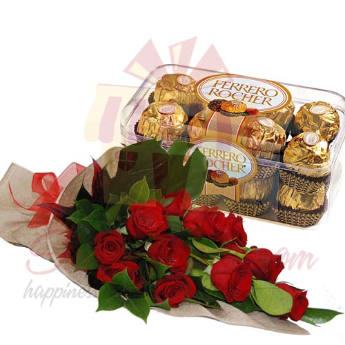 12 Red Roses With Chocolate