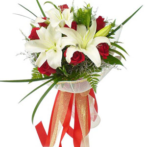 Red Roses with White Lilies