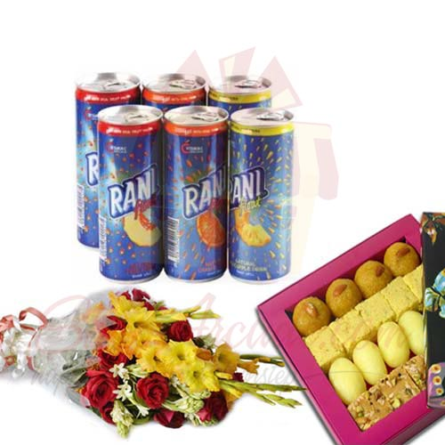 Mithai With Flower And Juices
