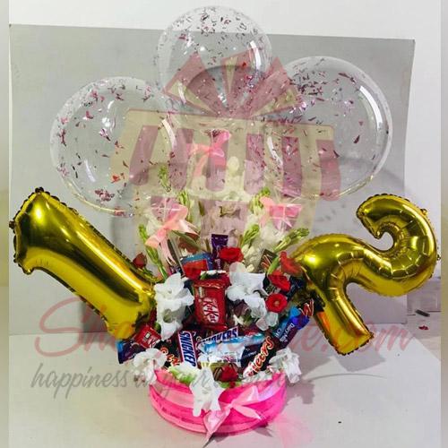 Bday Balloon Basket