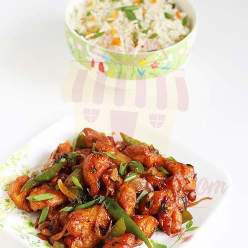 Chilli Chicken With Veg Rice By Ginsoy