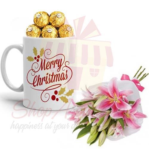 Xmas Choc Mug With Lilies