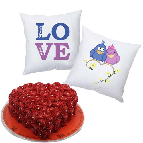 love-cushion-pair-with-heart-rosette-cake