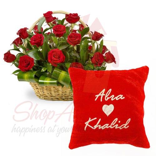 Rose Basket With Name Cushion