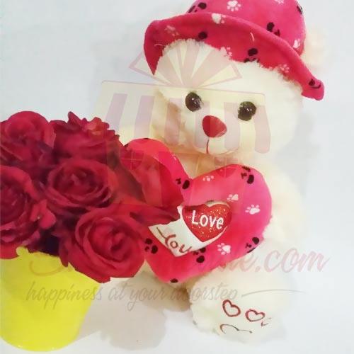 Rose Bucket With Cute Teddy