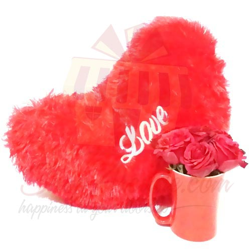 Love Cushion With Rose Mug