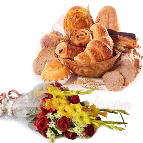 Flowers With Bread Basket