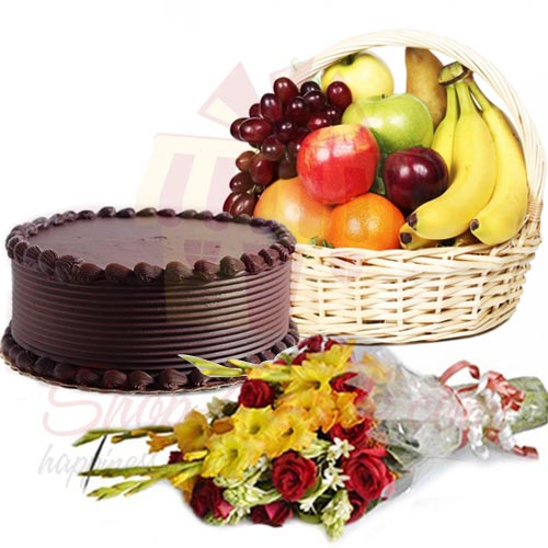 Flowers N Fruits With Choco Cake