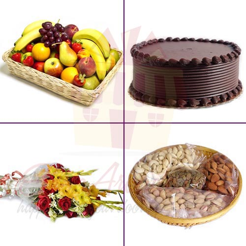 Fruits Flowers Dry Fruits With Cake