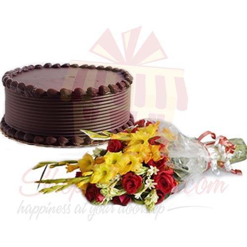Flowers With Choco Cake