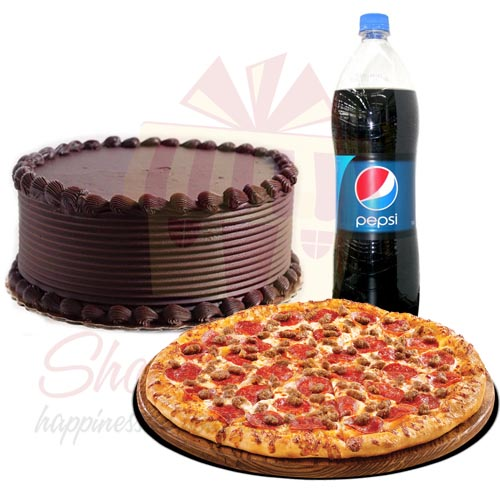 Chocolate Cake With Pizza
