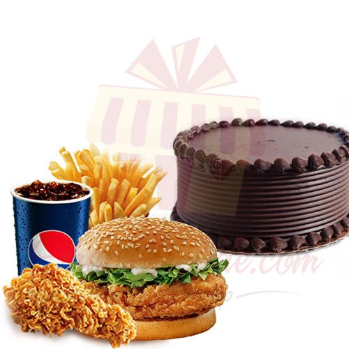 Choc Cake With KFC WOW Meal