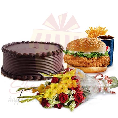 Cake and Bouquet With Zinger Meal