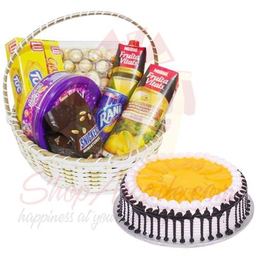 Gift Basket With Mango Cake