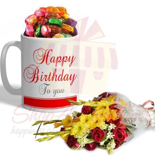 B Day Choco Mug With Flowers