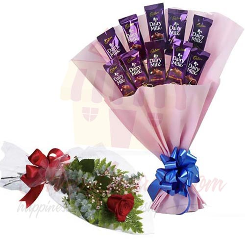 Single Rose With Cadbury Bouquet