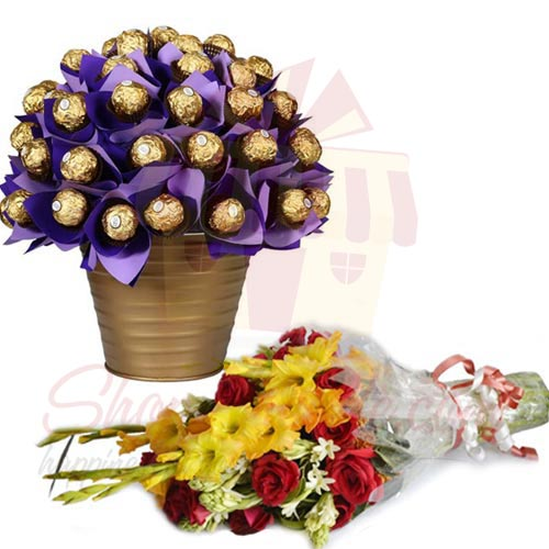 Bouquet With Ferrero Bucket