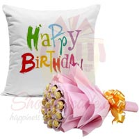 Choc Bouquet With Bday Cushion