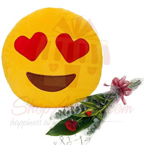 Love Emoji Pillow With Rose