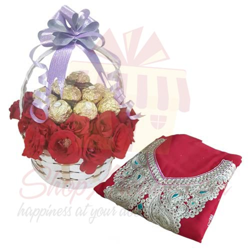 Rose Choc Basket With Red Suit