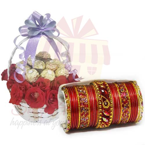 Ferrero Rose Basket With Choori