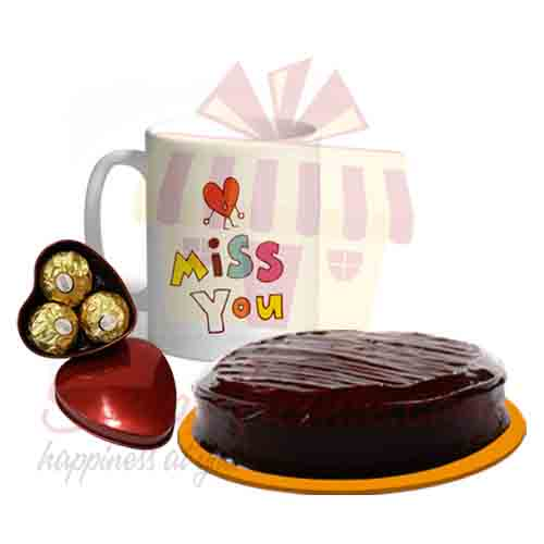 Miss You Mug Chocolates With Cake