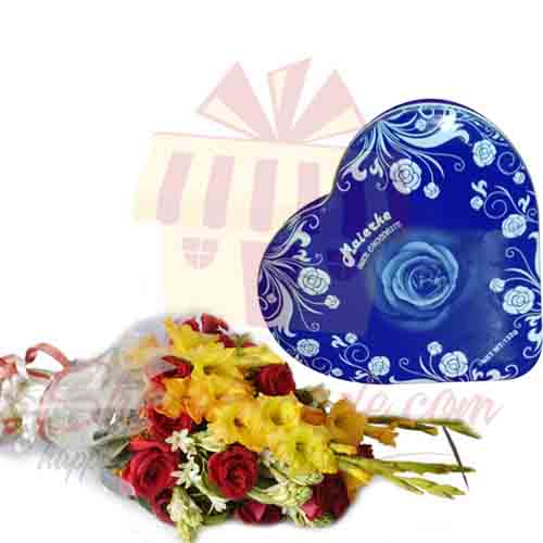 Heart Shape Chocolate Tin With Flowers