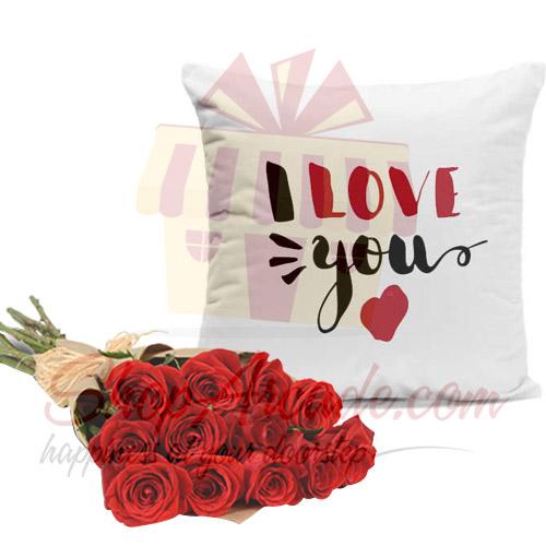 Love Cushion 1 Dozen Roses