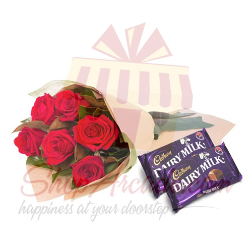 6 Roses With Chocs
