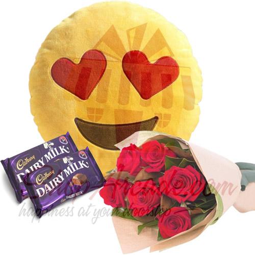 Roses Chocs Heart Eye Cushion