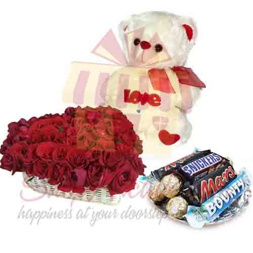 Rose Heart Choc Tray Teddy