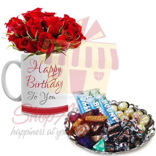Rose Bday Mug With Chocolate Tray