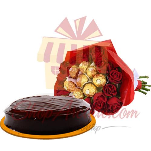 Cake With Ferrero Rose Bouquet
