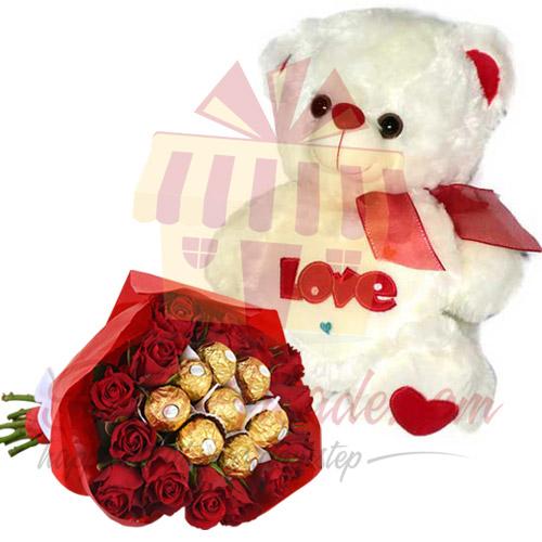 Love Teddy With Ferrero Rose Bouquet