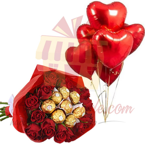 Heart Balloons With Ferrero Rose Bouquet