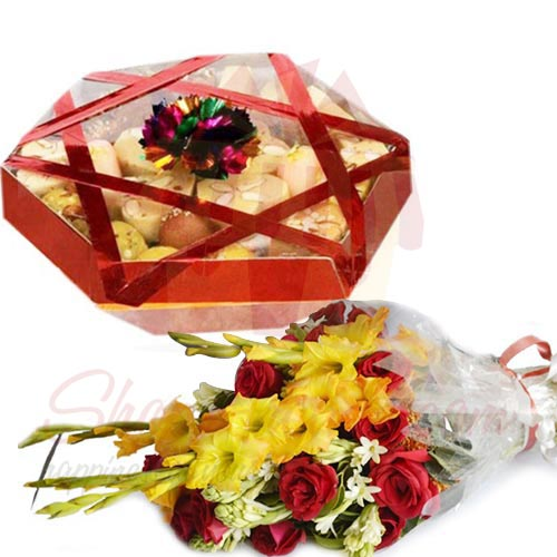 Mithai Tokra With Bouquet