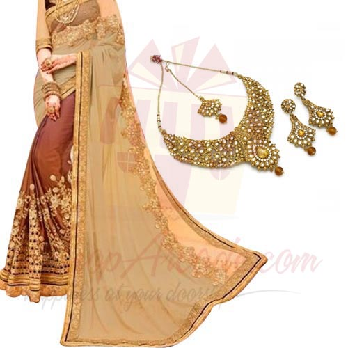 Necklace Set With Designer Saree