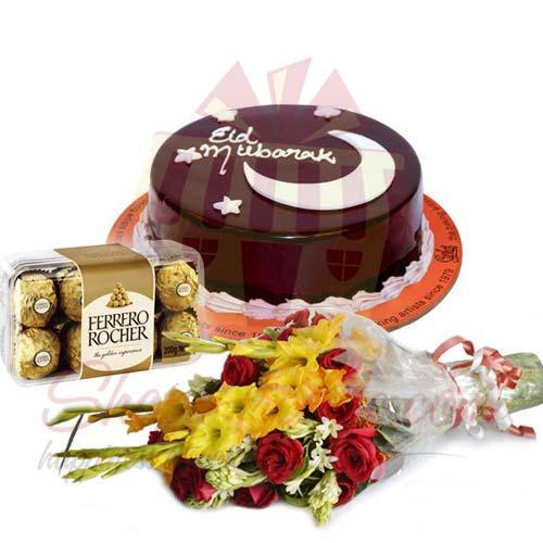 Eid Cake With Ferrero And Flowers