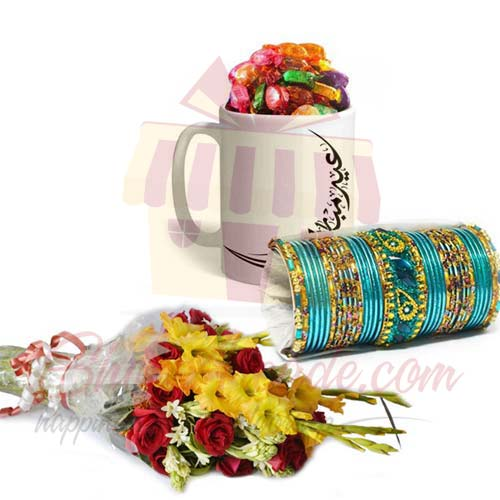 Choco Eid Mug Choori And Bouquet