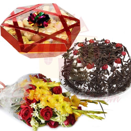 Cake Mithai And Flowers
