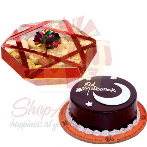 Eid Cake With Mithai Tokra