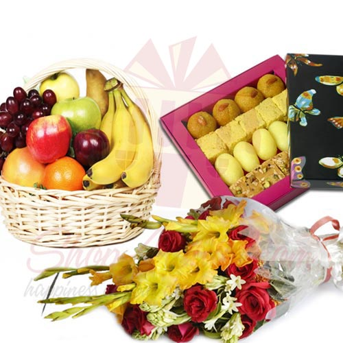 5Kg Fruits With Mithai n Flowers