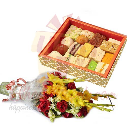 2Kg Mithai With Flowers