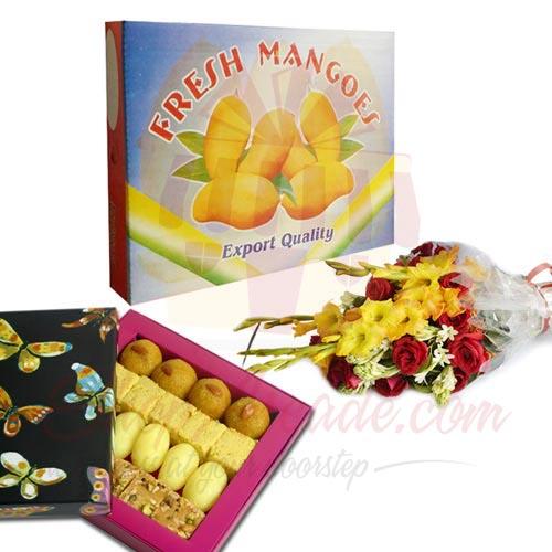 Mithai Flowers And Mango Box