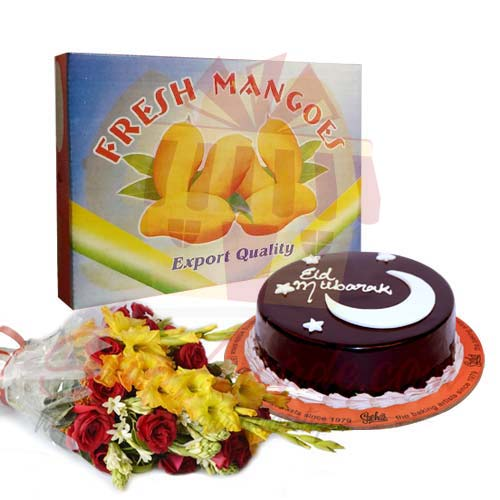 Mangoes With Eid Cake And Flowers