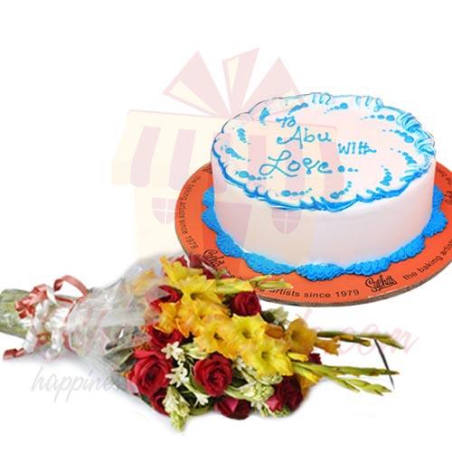 Cake With Flowers For Abbu