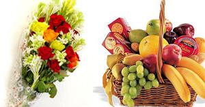 Flowers Bouquet Fruit Basket