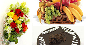 Flowers Cake Fruit Basket