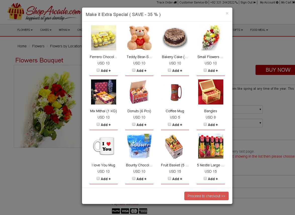 Add on Proceed to Shopping Basket