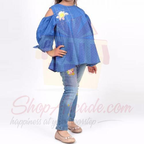 Blue Embroidered Blouse (Khaadi)